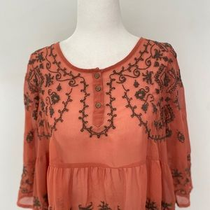 Free People Embroidered Blouse Women's Bohemian
